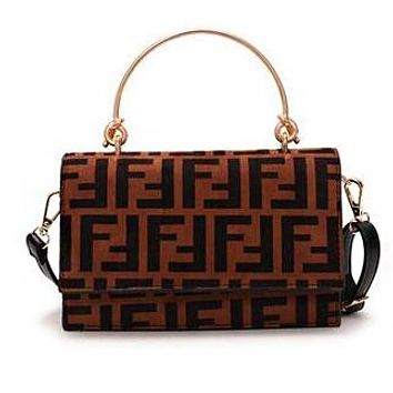 FENDI Fashionable Women Retro Leather Handbag Tote Shoulder Bag Crossbody Satchel Coffee