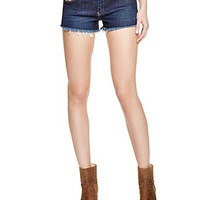 BLANKNYCCutoff Shorts in White Lines