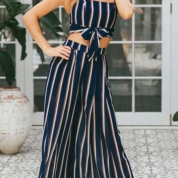Widen Your Horizons Black Vertical Stripe Pattern Sleeveless Crop Top Loose Wide Leg Pants Two Piece Set