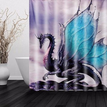 NEW!!!Custom New Dragon Waterproof Polyester Fiber Bathroom Shower Curtain Bathroom Decor Boys Gift