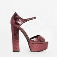 River Island Block Heel Burgundy Mary Jane Sandals