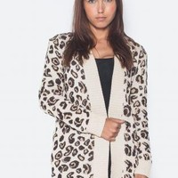 Cheetah Print Oversized Open Cardigan