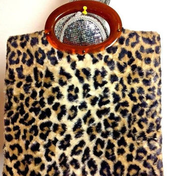 On Sale 1960's Vintage Leopard Faux Fur Handbag Clutch Purse * Retro Rockabilly Mid Century Purse * Old Hollywood Regency Glamour