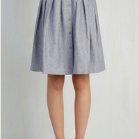 Menswear Inspired Mid-length Full Living the Dream Skirt in Grey