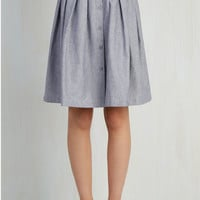 Menswear Inspired Mid-length Full Living the Dream Skirt in Grey by ModCloth