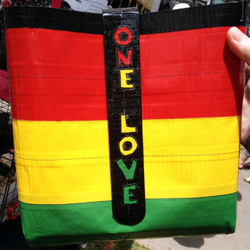 One Love Bob Marley Rasta Bag Duct Tape Purse Hand by PyrateWench