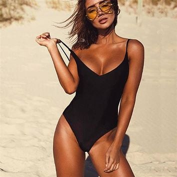 Sexy One Piece Thong Backless Swimsuit