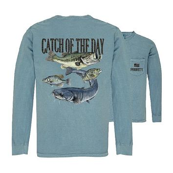 Southern Couture Priority Catch Of The Day Fishing Pocket Unisex Long Sleeve T-Shirt