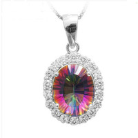 2.5ct Mystic Fire Topaz Princess Fashion Pendant For Women – With Genuine 925 Sterling Silver