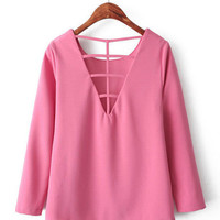 Pink Back Cutout Long Sleeve Top