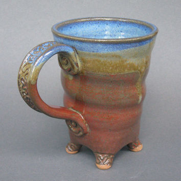 Twisted Footed Mug Handmade Pottery in Iron Red Coblat Blue EACH ONE UNIQUE