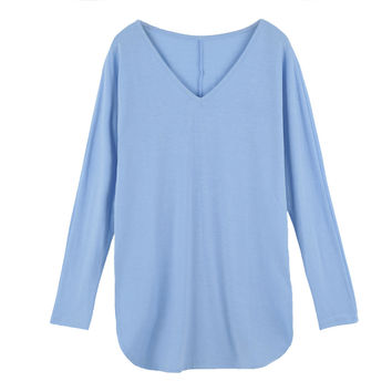 Women T-shirt V Neckline Side Splits Long Sleeve T shirt Solid Loose Fit Casual Tops Blue T-shirt Feminino SM6