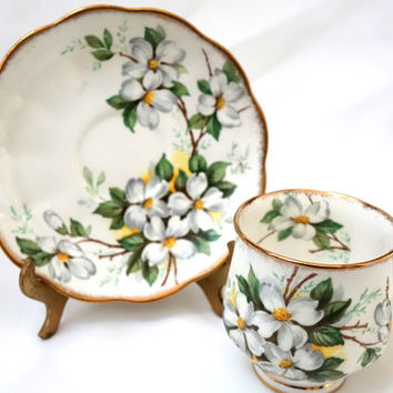 Royal Albert Footed Demitasse Cup & Saucer Set  Dogwood Bone China