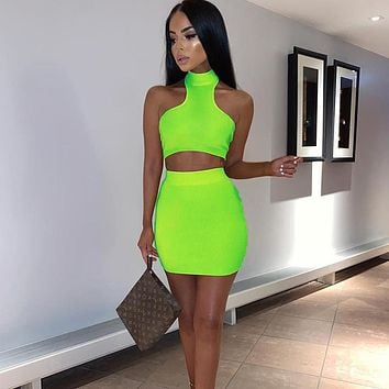 BKLD Women Fashion Neon Green Orange Clothing Bodycon Summer Blue 2 Two Piece Matching Sets Sleeveless Sexy Crop Tops+Mini Skirt