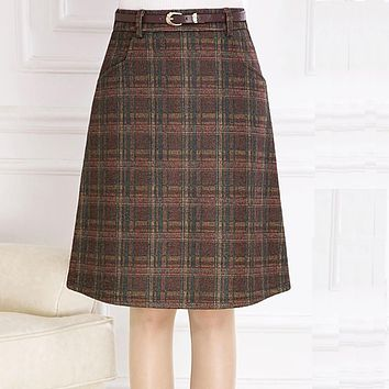 Skirts Womens 2016 Autumn Winter Woolen Skirt Casual Slim A-line Plaid Midi Skirts Female Fashionable High Waist Saias Femininas