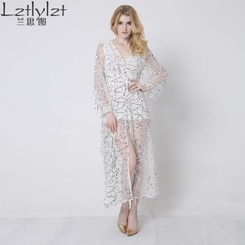 Lztlylzt Plus Size 2016 Summer Women Sexy Long Evening Party Dress long sleeve mesh Sequin Dress Black White Fit and Flare Dress