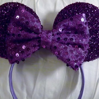Minnie Mouse Ears Headband Purple Sparkle Sequin Bow Mickey Mouse Ears, Disneyland, Disney World, Holiday Mouse Ears - 1 of a kind made