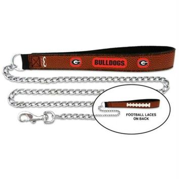 DCCKT9W Georgia Bulldogs Football Leather and Chain Leash