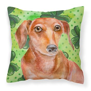 Red Dachshund St Patrick's Fabric Decorative Pillow BB9881PW1414