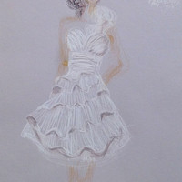 Wedding dress drawing, short white layered dress, pencils, drawing, creative composition, custom drawings, keep sake 8 x 12''