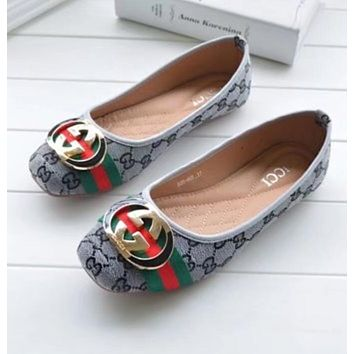 GUCCI Trending Women Stylish Red Green Stripe Metal Buckle Flats Boat Shoes Brand Single Shoes Grey I12155-64