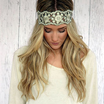 Embroidered Lace Gold and Black Stretchy Headband Wedding Hair Band Wide Stretchy Lace Hairband