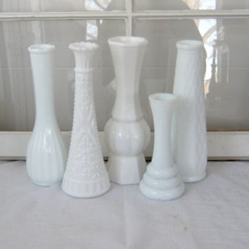 Shabby Chic Vintage Milk Glass Vases - Shabby Chic - White Vase - Antique Vase - Milk Glass - Wedding Decor - Home Decor - Vase Collection