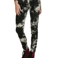 Royal Bones By Tripp Black & White Skull Marble Wash Skinny Jeans
