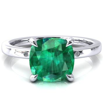 Maise Cushion Emerald 4 Prong Diamond Accent Engagement Ring