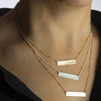 Hammered TWO SIDED Bar Necklace, Custom Monogram Necklace, Reversible Hammered Location Necklace, Rose Gold Necklace Sets Personalized