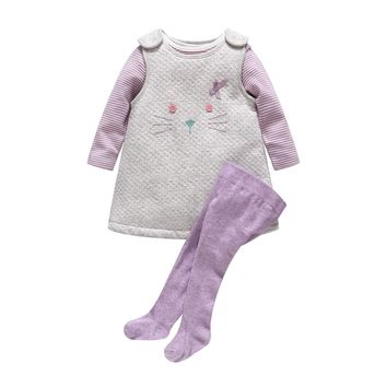 2017 New Baby Girl Clothes Newborn Baby Thickening Cotton Cat Dress +Stripe Romper+ Purple Pantyhose 3pcs Clothing Set