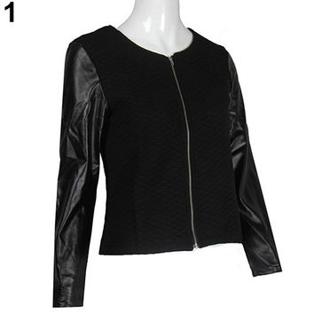 Women's Fashion Casual Faux Leather Splicing Zipper Long Sleeve Jacket Coat