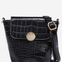 Crocodile Embossed Flap Bucket Crossbody Bag
