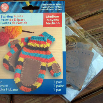 Mitten Palms and Thumbs, Boye Starting Points, Pre-Punched Brown Suede, 1 pair Medium with Knit and Crochet Patterns