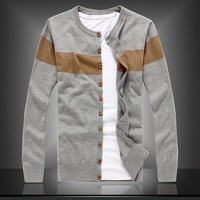 Spring casual o-neck  cardigan men high quality striped wool men sweaters