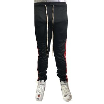 Black / Red Stripe Trackpants