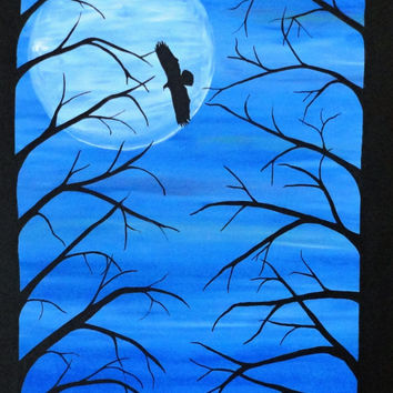 Art,  Eagle original painting, Acrylic Painting, Abstract trees with beautiful Cobalt blue night sky, 24x30 home decor, wall art,