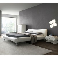 King White Faux Leather Upholstered Platform Bed with Modern Headboard & Metal Legs