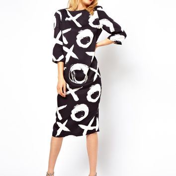 ASOS Midi Shift Dress in Mono Print
