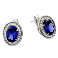 Sterling Silver Round Blue Stud Earrings