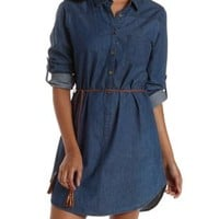 Chambray Belted Denim Shift Shirt Dress by Charlotte Russe