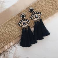 Linger Black Tassel Eye Earrings