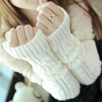Fashion Winter Mitten Warm Unisex Men Women Arm Warmer Faux Fur Fingerless Knitted Long Gloves GA0019 = 1931711684