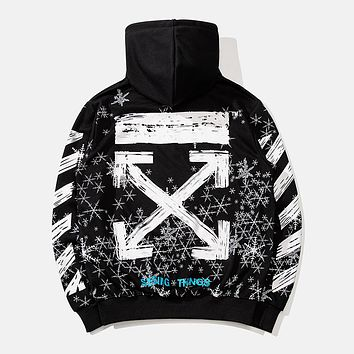 OFF-WHITE Autumn and Winter Tide brand Snowflake Arrow Hooded Turtleneck Sweater black