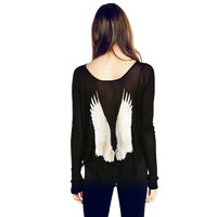 Women's Vintage Angel Wings Printed Low Collar See-through Long Sleeve Shirt