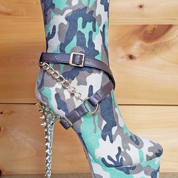 Camilla Canvas Green Camo Spiked Stiletto Heel Mid Calf Boots