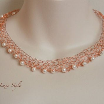 Swarovski Pearl Necklace choker Crocheted Copper Wire Metal Jewelry white Luxe Style Bridal Wedding Statement