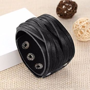 Leather Bracelet With Alloy Buckle Adjustable-Black & Brown Leather