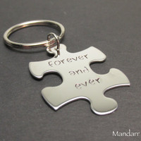 Forever and Ever, Puzzle Piece Keychain, Stainless Steel, Anniversary, Wedding Gift, Couples Accessory, His Hers