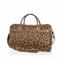 Brown leopard print quilted weekend bag - make up bags / luggage - bags / purses - women